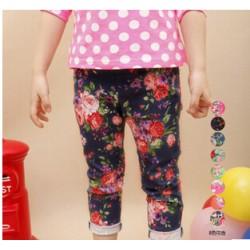 Pantaloni model flori fetite