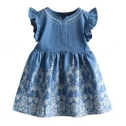 Rochie pentru fete, din denim, albastra, 6 ani